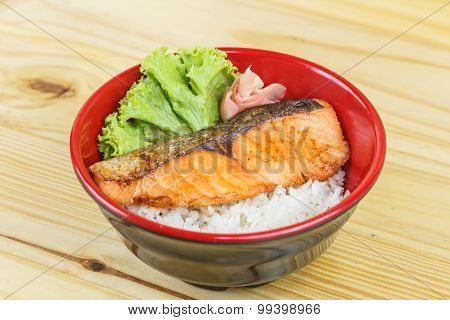 Traditional Japanese Food,  Snow Fish Grilled Or Gindara Teriyaki With Rice
