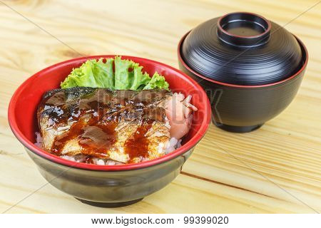 Traditional Japanese Food, Saba Teriyaki Serve With Rice And Soup