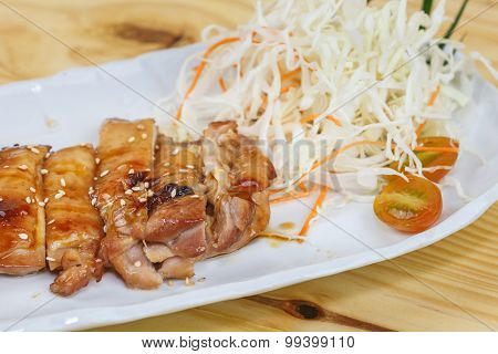 Traditional Japanese Food, Grilled Chicken Or Tori Teriyaki