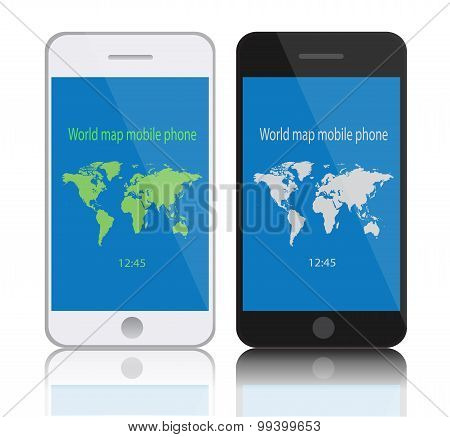 Mobile Phone icon vector World Map