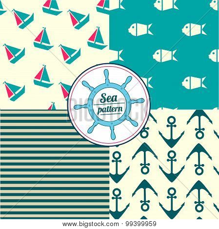 Seamless pattern set  with nautical elements