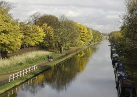 picture of barge  - Bridgewater Canal and Barges in Sale Cheshire. ** Note: Soft Focus at 100%, best at smaller sizes - JPG