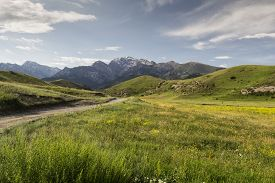 image of shiva  - Mountain Valley Shiva,  Kyrgyzstan, Batken Province,  a picturesque valley where  pastoralists live - JPG