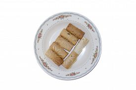 picture of tong  - Tong Muan Rolled Wafer Thailand at the dish on white background - JPG