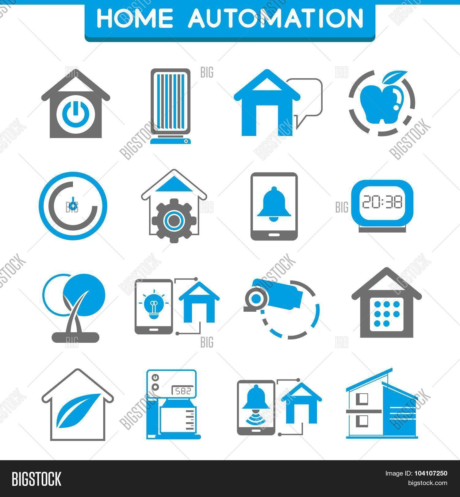 smart home home automation icons vector photo bigstock. Black Bedroom Furniture Sets. Home Design Ideas