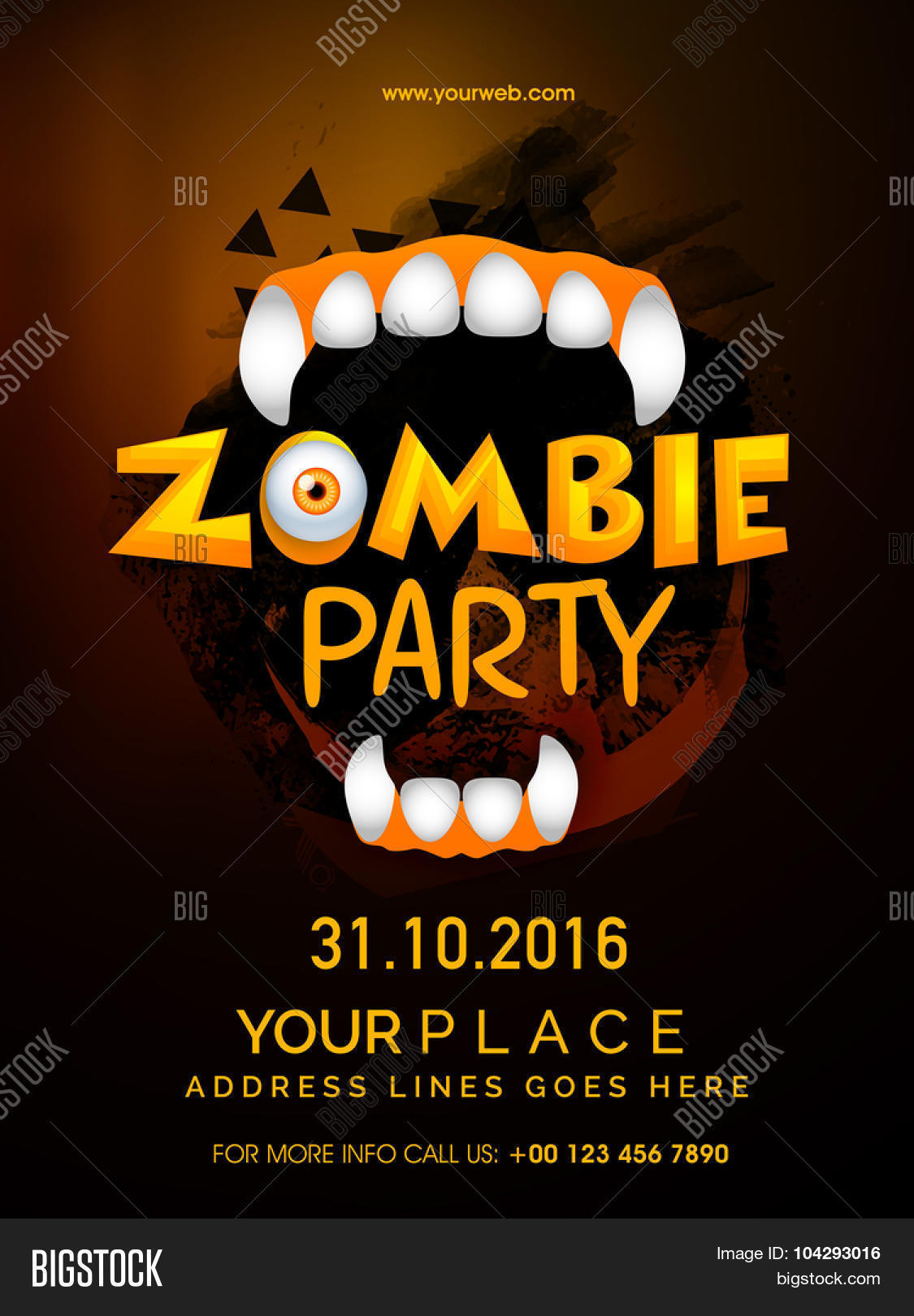 Happy Halloween Zombie Party celebration template banner or – Zombie Flyer Template