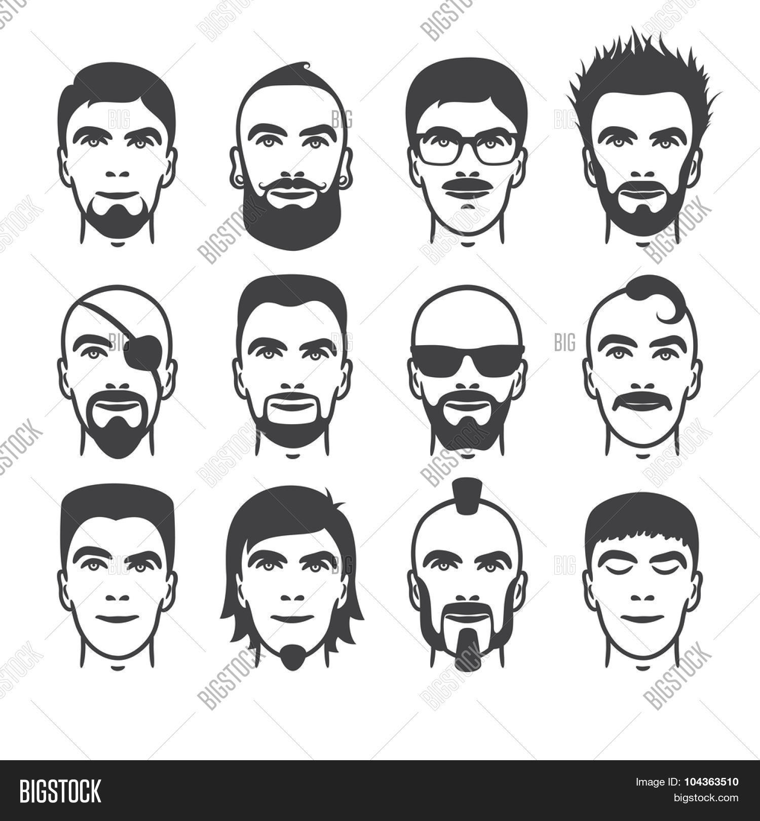 Fantastic Set Of Close Up Different Hair Beard And Mustache Style Men Short Hairstyles Gunalazisus
