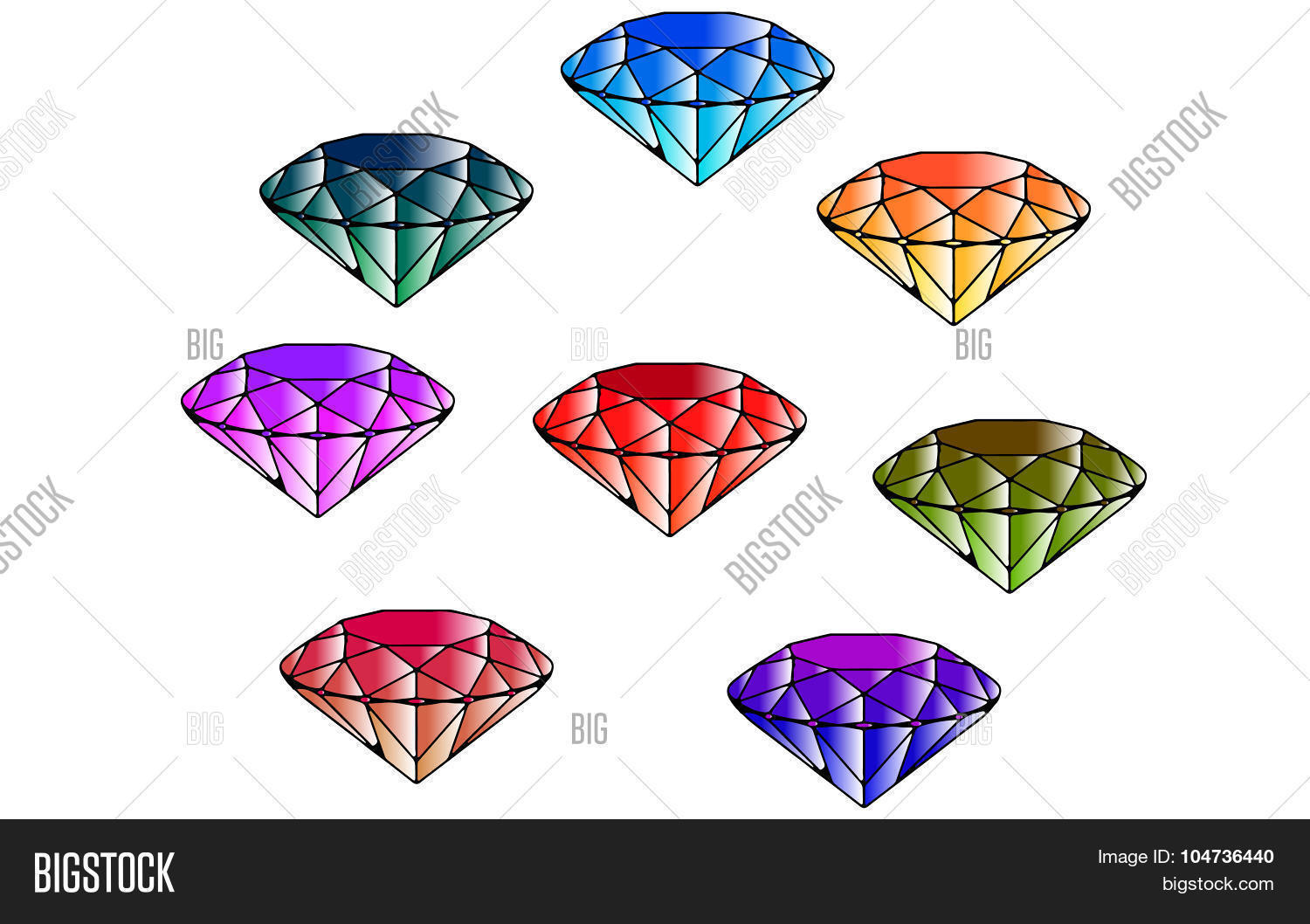 Cartoon Colored Marbles : Color emeralds eight diamonds vector photo bigstock
