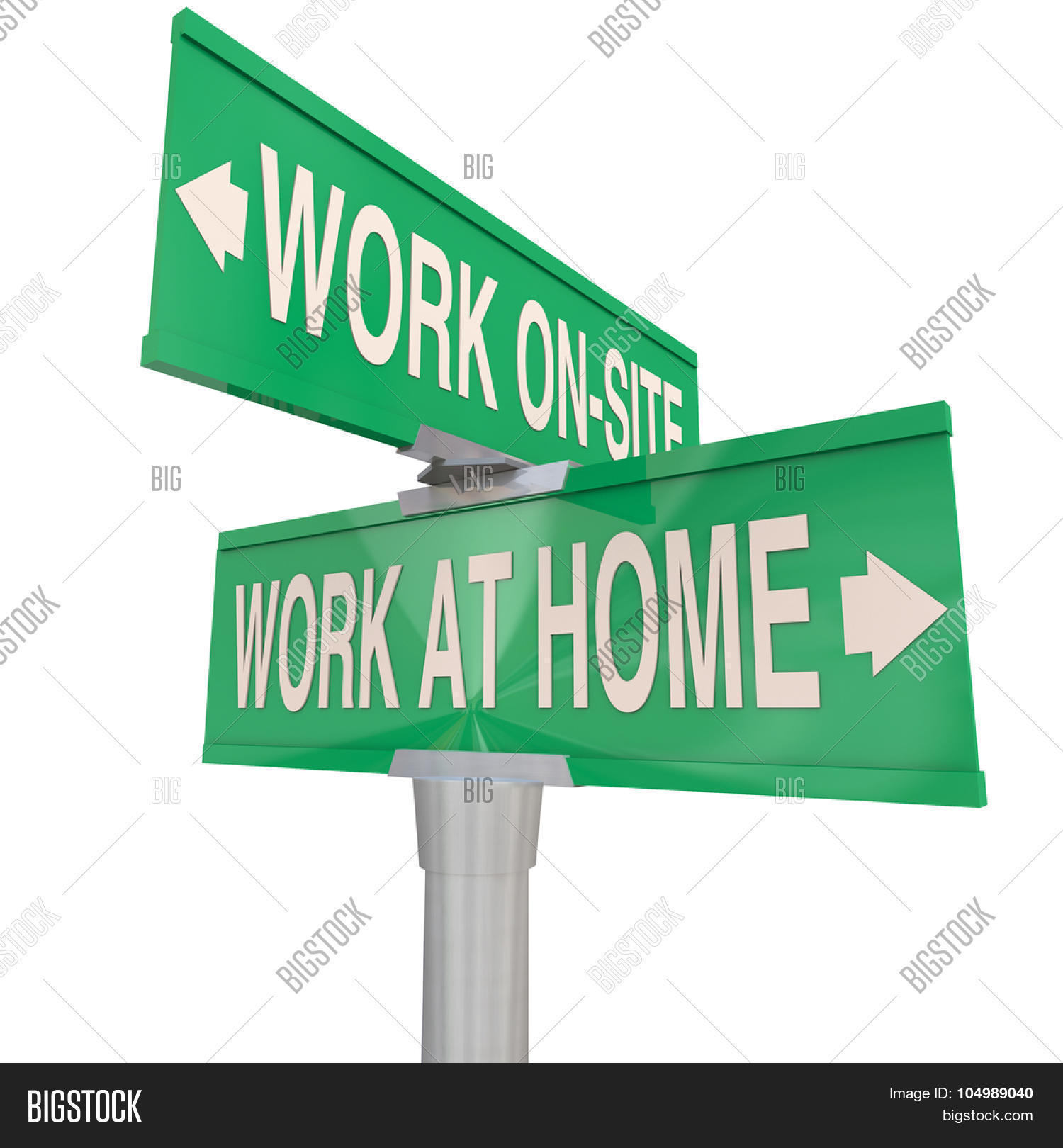 work at home vs on site words on two green way street or road work at home vs on site words on two green 2 way street or road