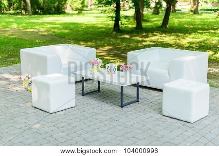 Lounge area for guests outside