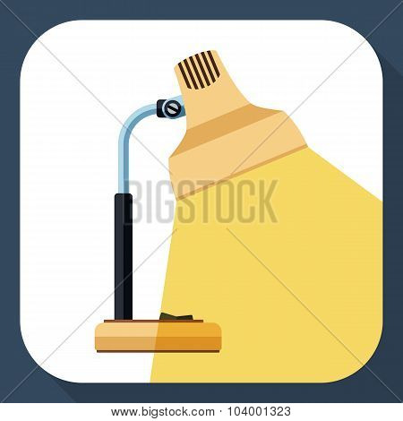 The Icon Of Desk Lamp With Beam Of Light