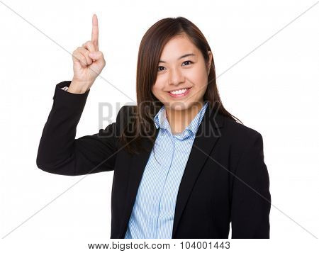 Businesswoman showing finger up