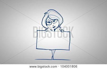 Caricature of woman with blank banner on white background
