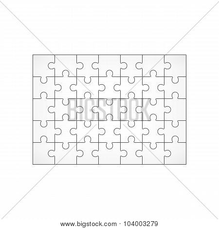 Jigsaw Puzzle Blank 7X5 Elements, Thirty-five Vector Pieces.