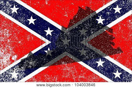 Rebel Civil War Flag With Virginia Map