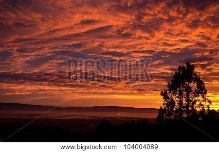 Sunset over the San Mateo bridge and the San Francisco Bay