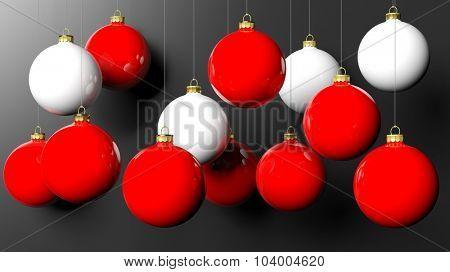 Red and white Christmas balls, isolated on black background.