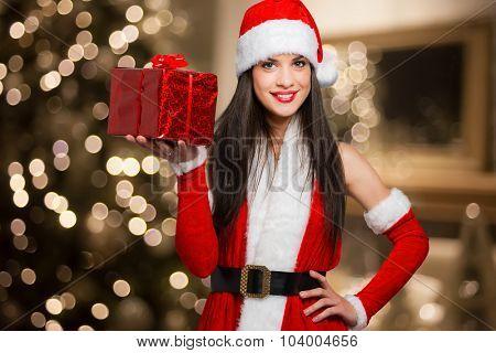 Cute Santa Claus woman giving you a present