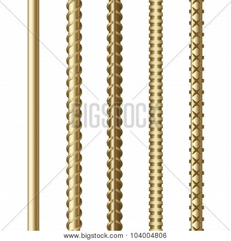 Composite Rebars Set on White Background. Construction Plastic Armature. Vector