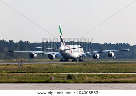 Emirates Airbus A380-800 At The Frankfurt Airport