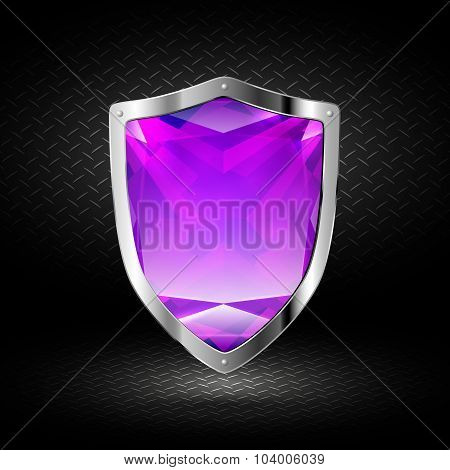Purple Crystal Shield In Chrome