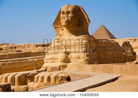 Full Sphinx Profile Pyramid Giza Egypt