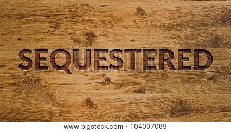The word Sequestered Engraved in Wooden Background