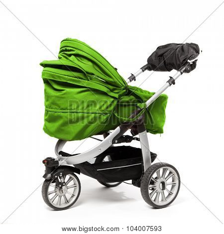 green baby stroller isolated on white