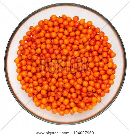 sea buckthorn berries in a plate, white background