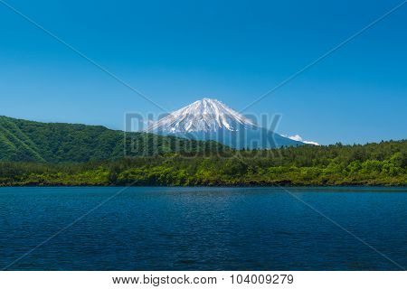 Mount Fuji Behide The Forest With Blue Lake