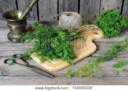 Bunch Of Dill On A Cutting Board