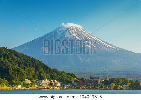 Mount Fuji In Lake Kawaguchiko Behide The City , Japan
