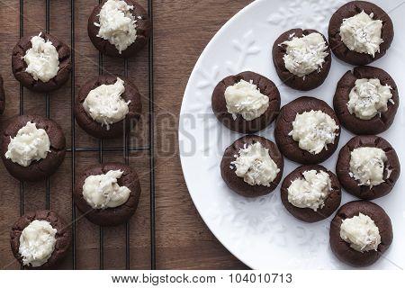 Chocolate Christmas Thumbprint Cookies