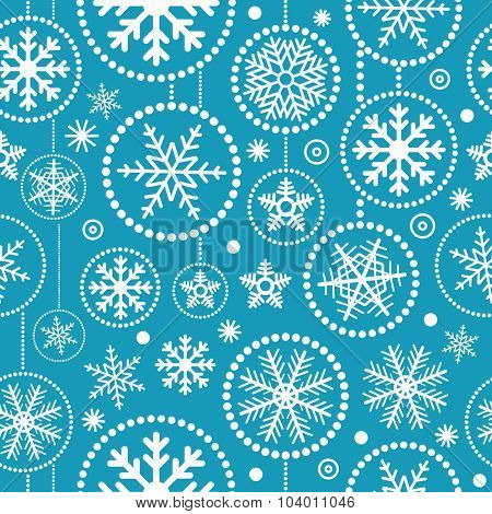 Christmas snowflakes seamless pattern. Merry Christmas and Happy New Year