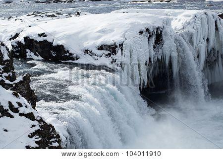 Closeup Of Frozen Waterfall Godafoss, Iceland