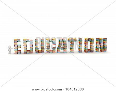 3D Character Showing Stacks Of Books Spelling Education