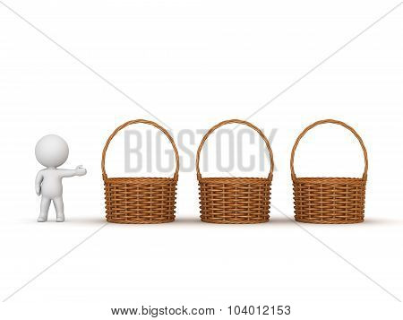 3D Character Showing Three Empty Wicker Weaved Baskets