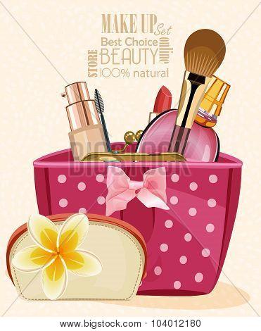 Cosmetics set on light background