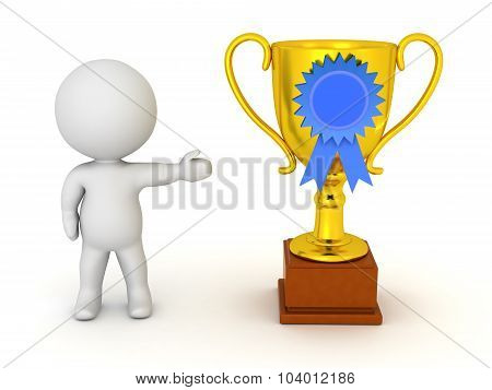 3D Character Showing Golden Trophy With Blue Ribbon