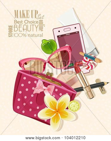 Handbag filled with objects for women