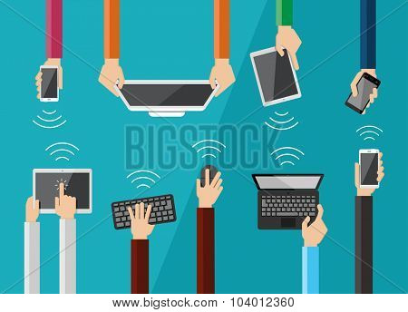 Hands holding various high-tech devices. Flat design vector illustration of hands holding computer and communication devices. .Concept illustrating  business meeting.