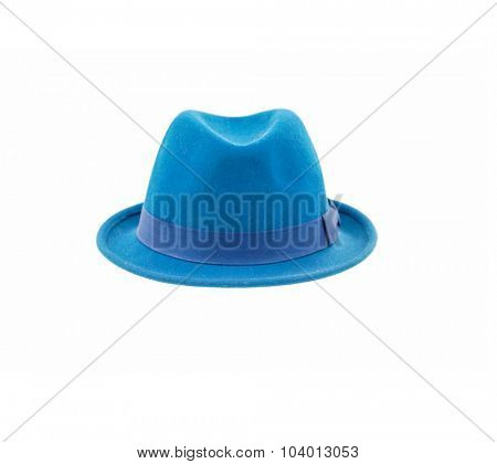 blue fedora hat isolated