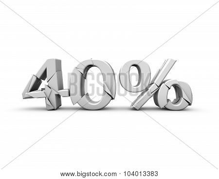 40% Text, Discount And Sales Concept.