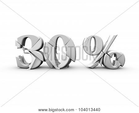 30% 3D Shattered Number, Isolated On White.