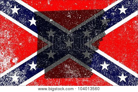 Rebel Civil War Flag With Arkansas Map