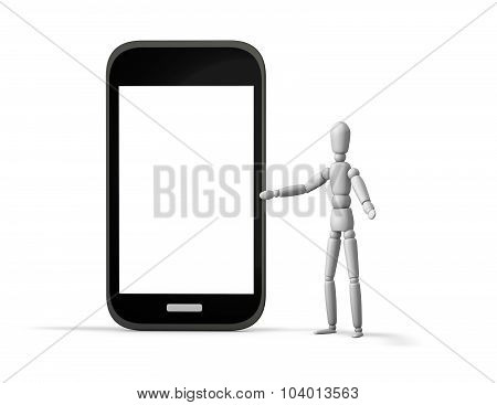 3D Marionette Showing Cell Phone.