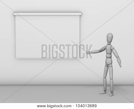 Business Presentation Illustration With Lecturer Showing Information On Board.