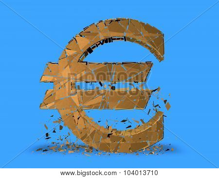 Euro Problems Concept With Euro Symbol Shattered.