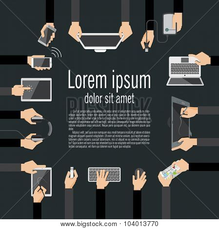 Flat design vector illustration of hands holding computer and communication devices. Concept illustrating  business meeting. Brainstorming.