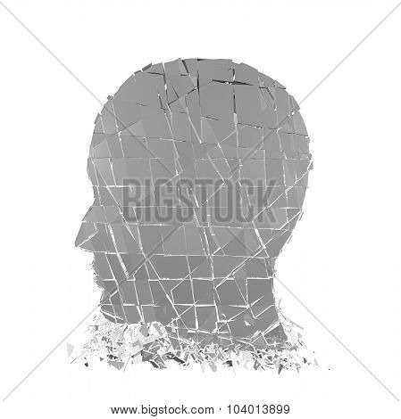 Stress Concept With Shattered 3D Person Profile.